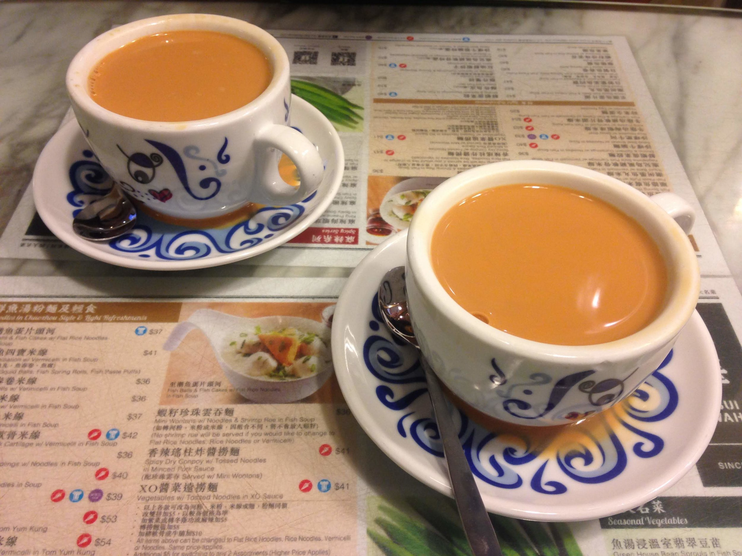 a more traditional cup of Hong Kong Milk Tea served at Tsui Wah Restaurant in Kowloon, Hong Kong
