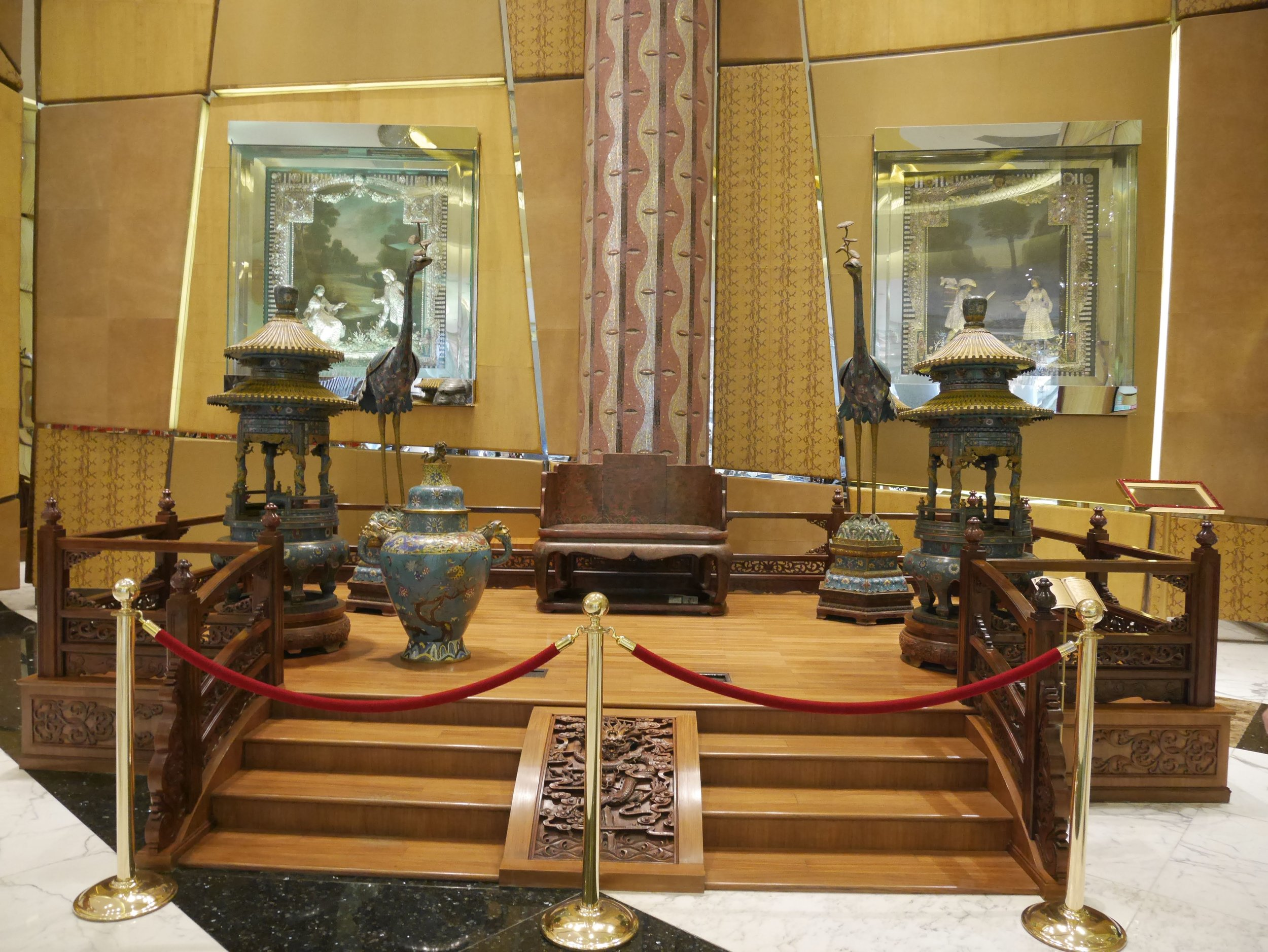 The Dragon Throne of the Chinese Emperors is on display in the lobby of the Grand Lisboa Macau.