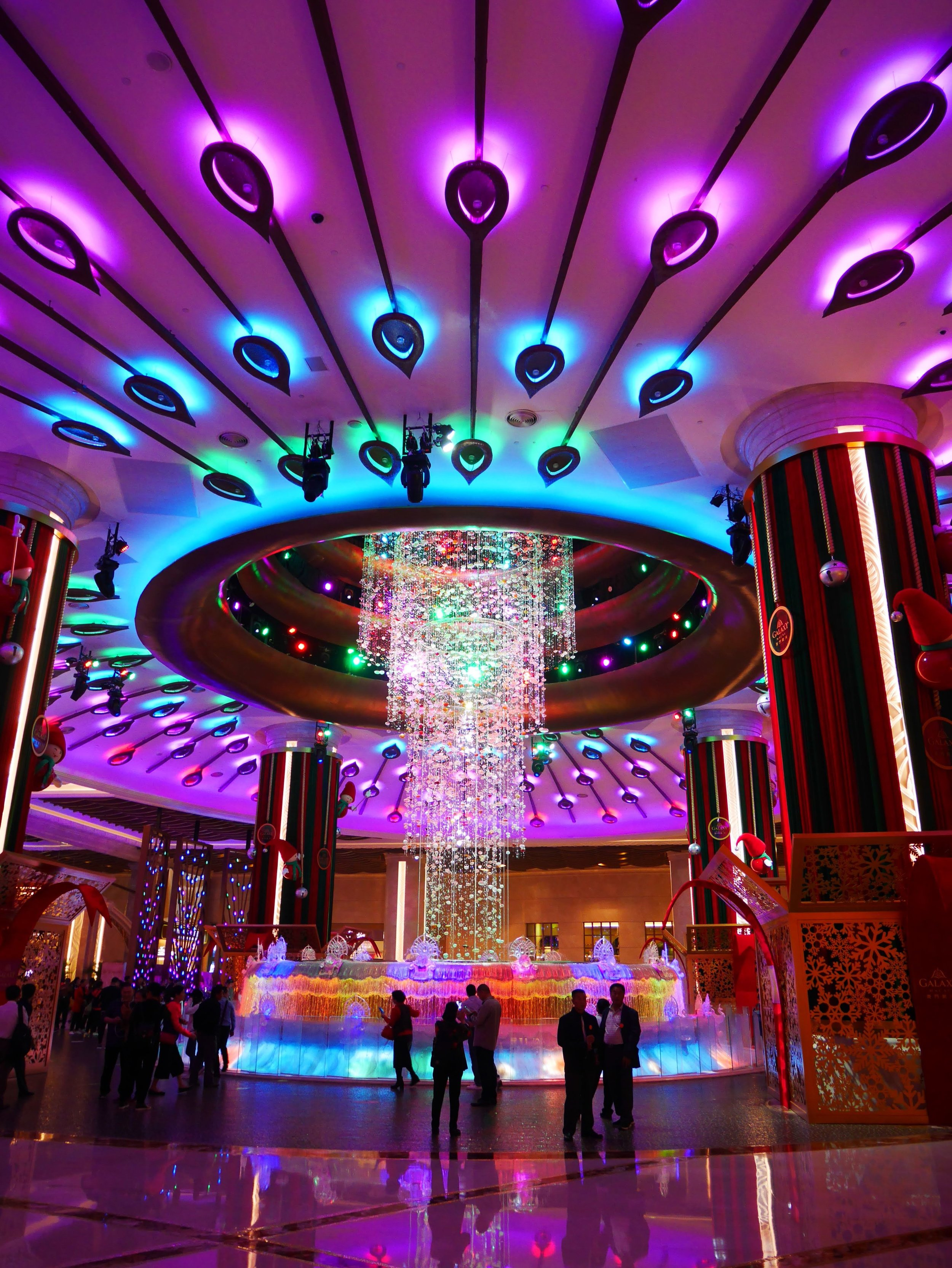 interior fountain at the Galaxy Macau hotel and casino