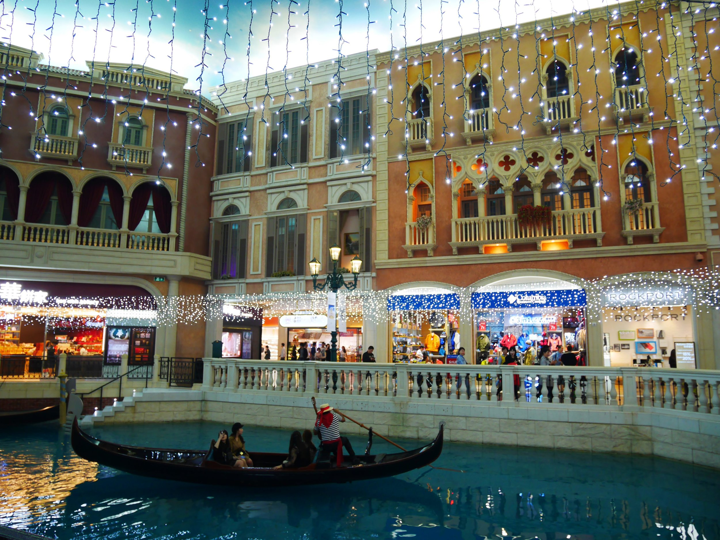 gondolas are available to hire for rides at the Venetian Macau