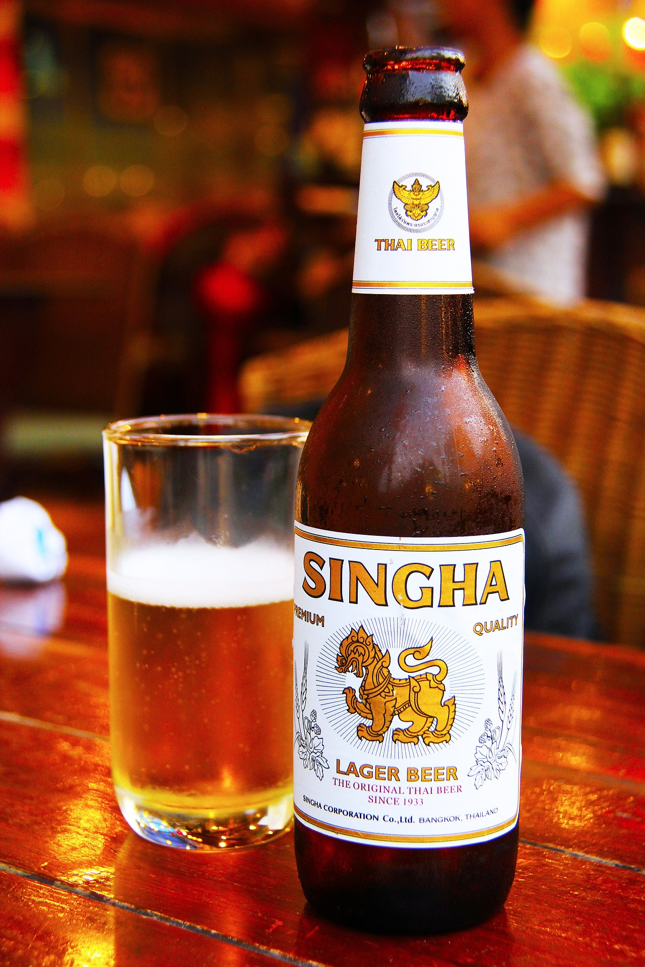 a bottle of Singha Beer in Thailand; alcohol can only be served during certain times of the day