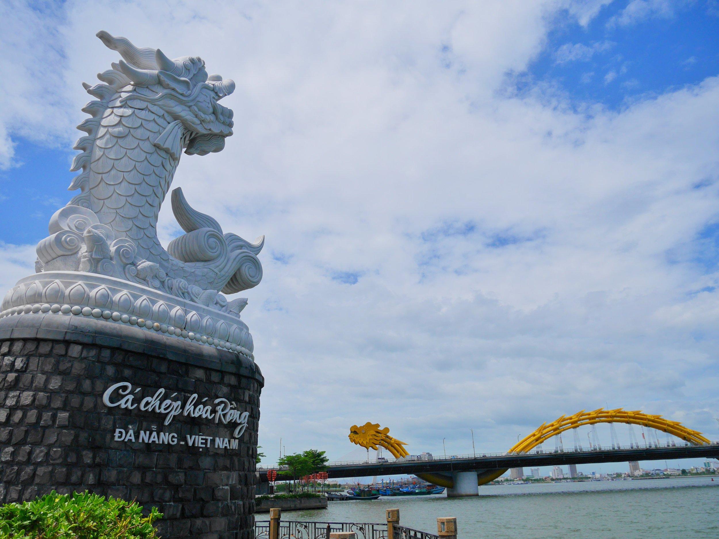 Han River in Da Nang, Vietnam; the Dragon Carp and the Dragon Bridge