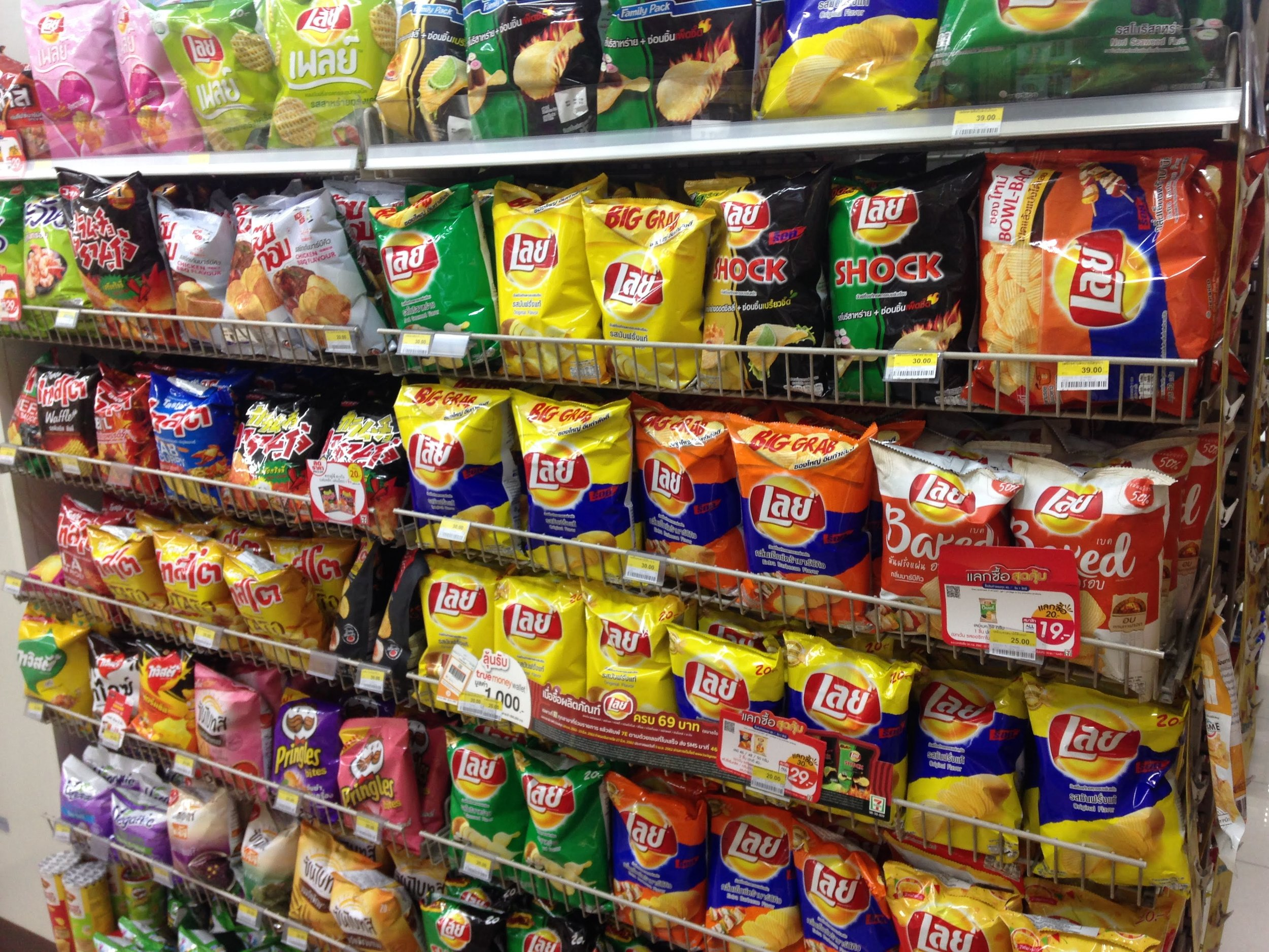 lots of Thai snacks in crazy flavors