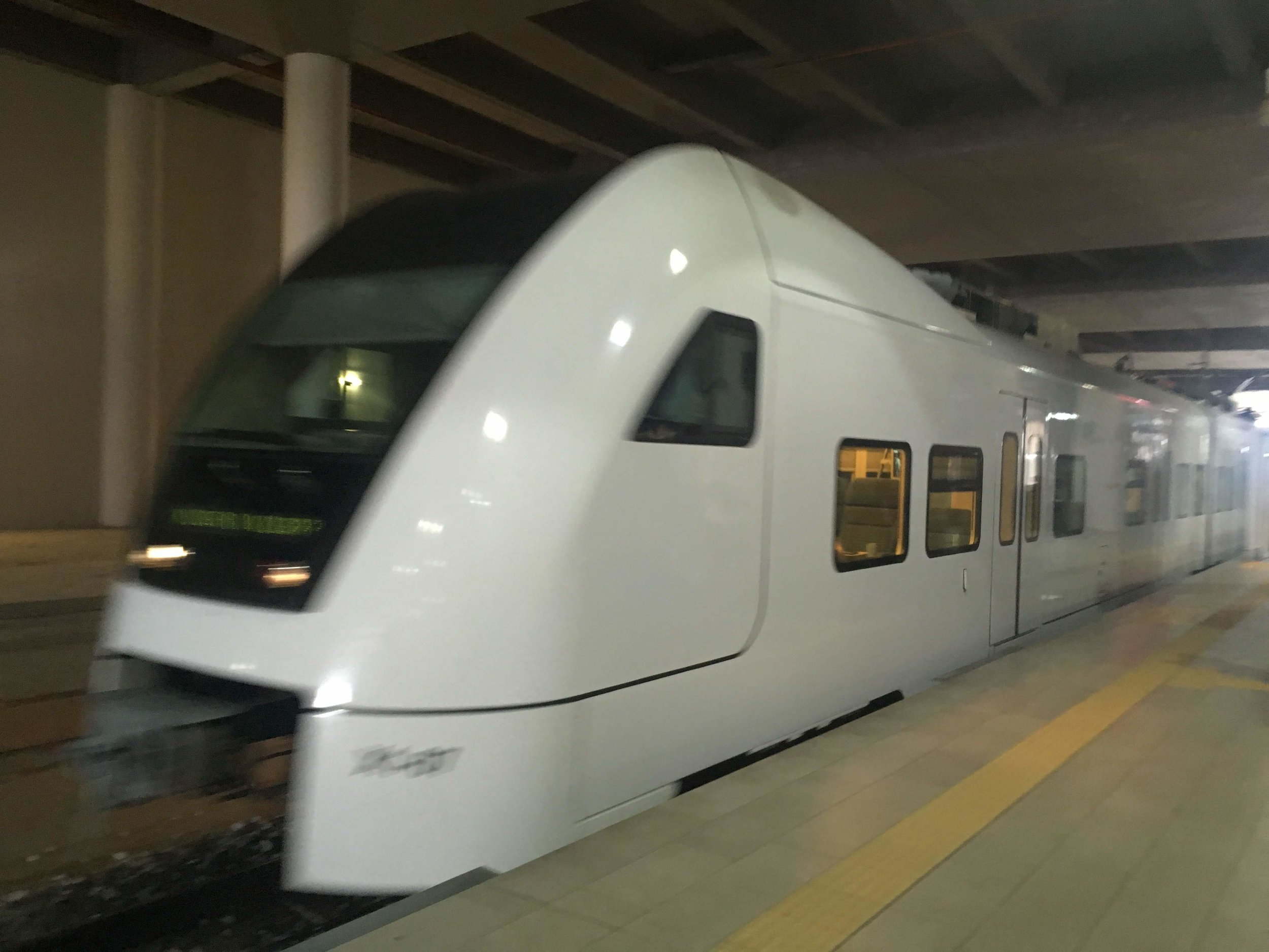 the KLIA Ekspress train arriving at Kuala Lumpur International Airport