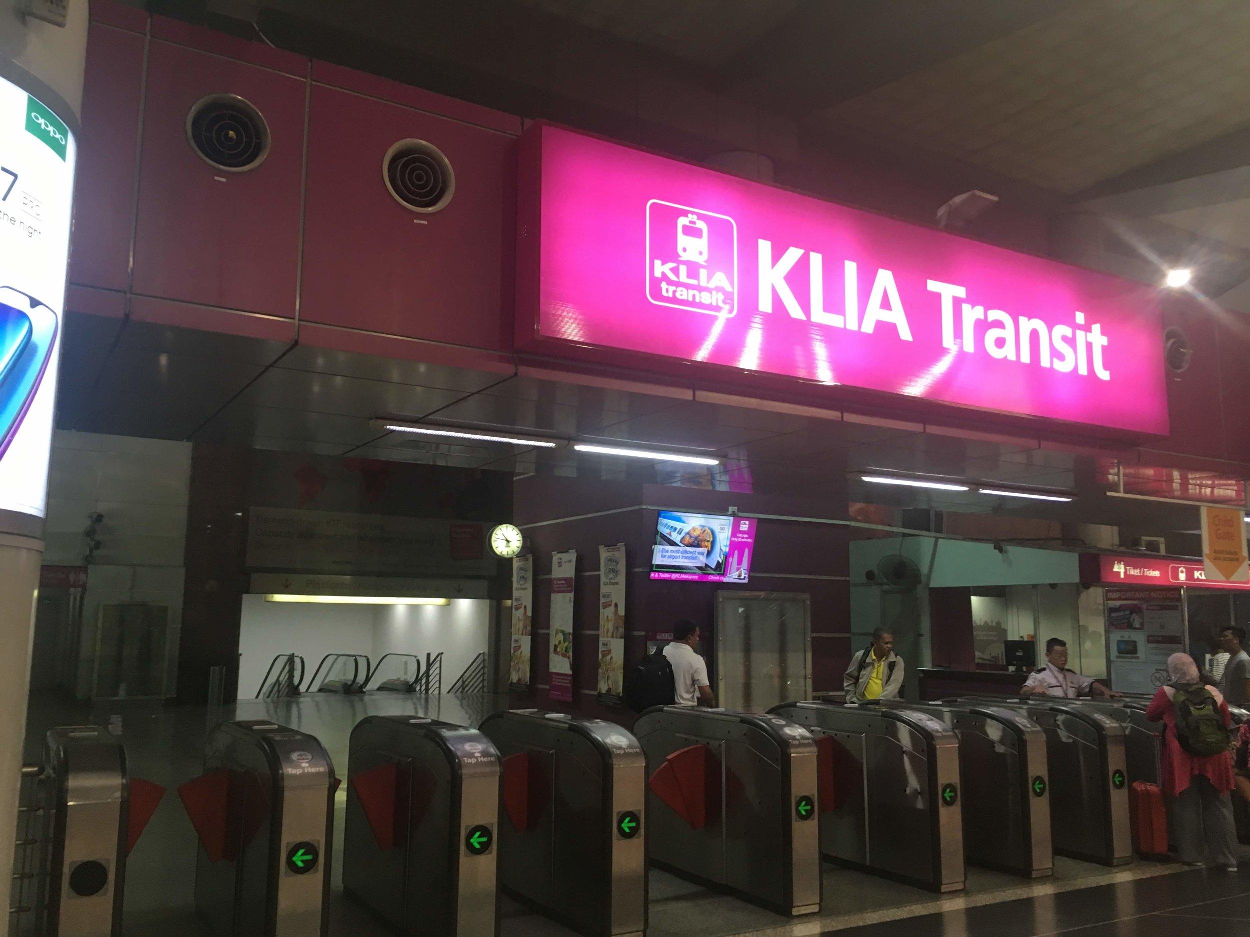 KLIA Transit station at KL Sentral Station