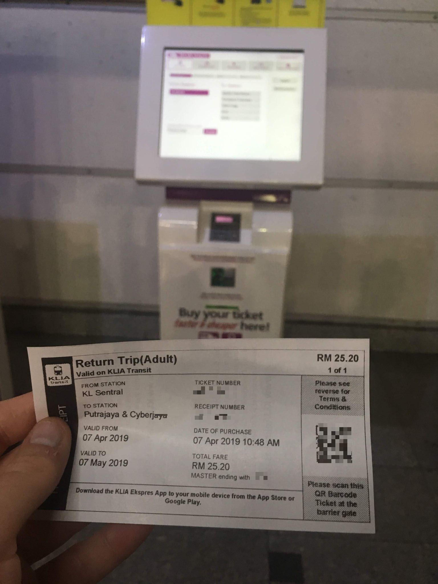 purchasing a ticket from Kuala Lumpur to Putrajaya