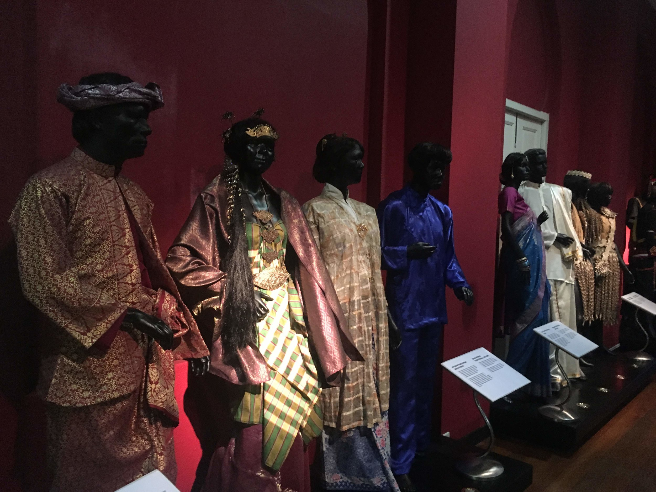 traditional outfits on display at Malaysia's National Textile Museum