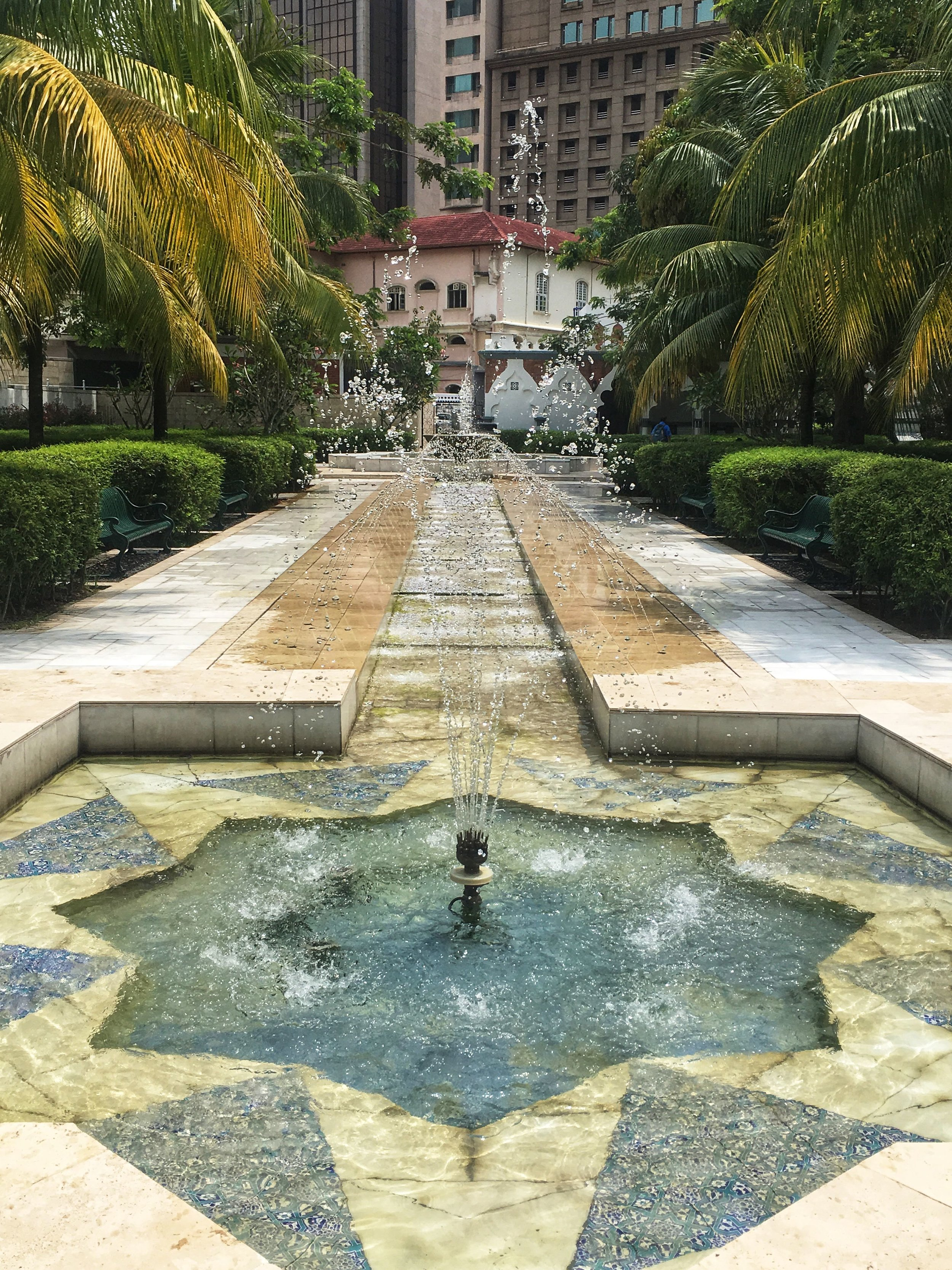 fountains in the gardens of Kuala Lumpur's Masjid Jamek