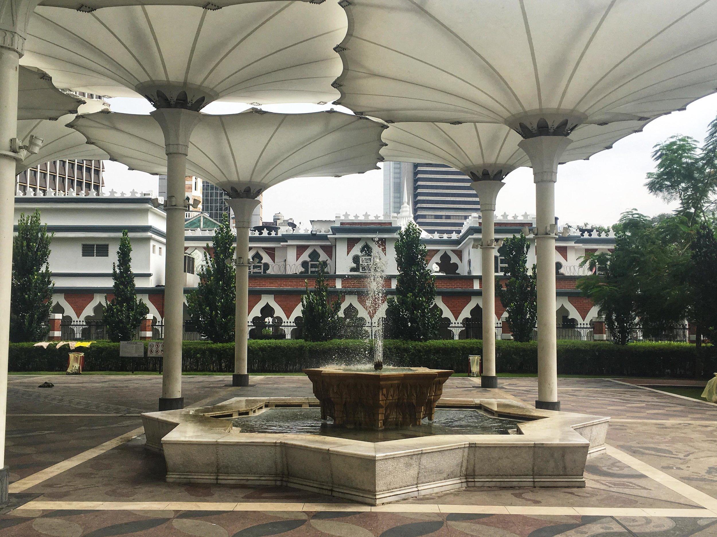 the entrance to Masjid Jamek, KL, Malaysia