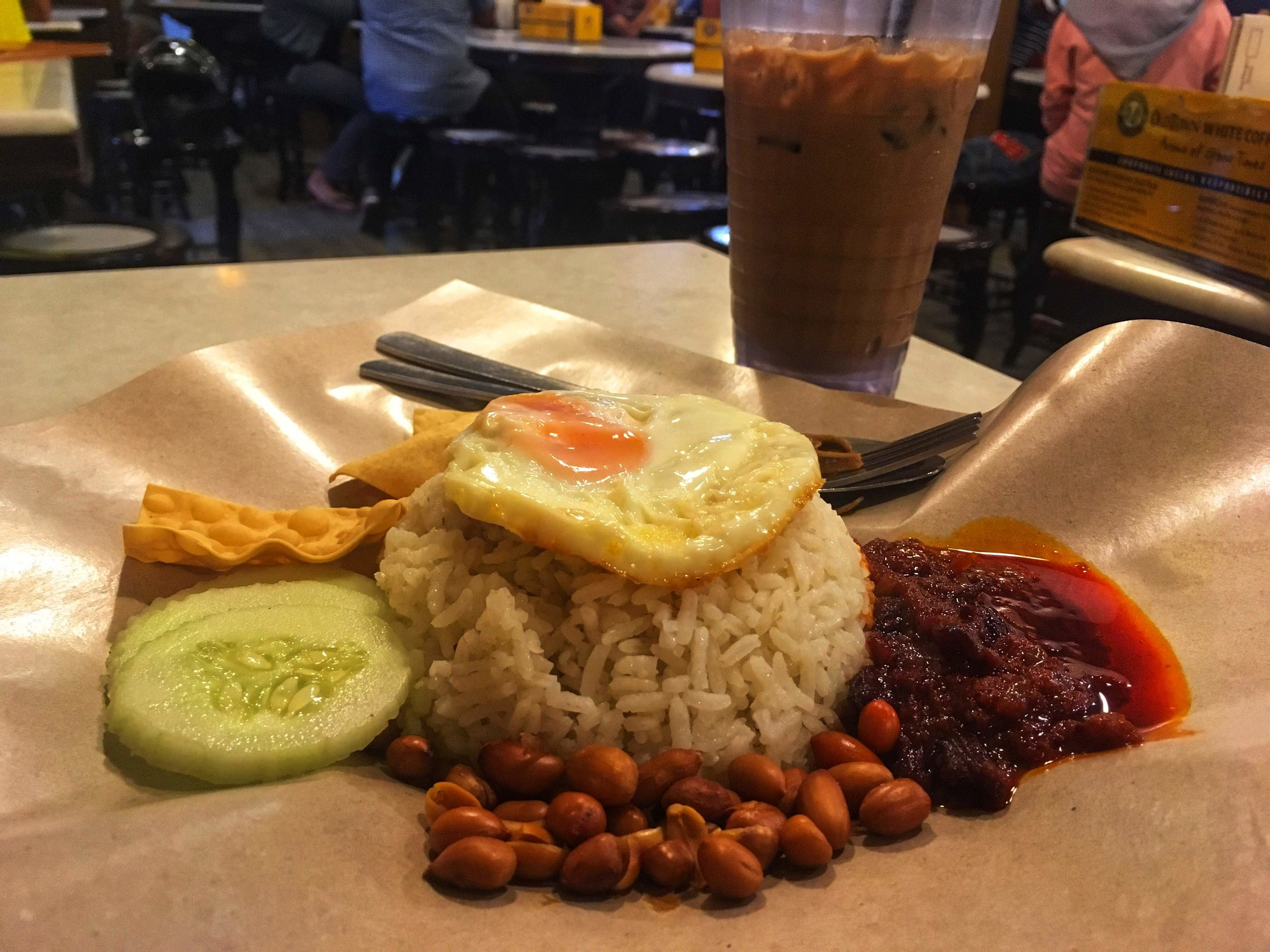 nasi lemak, the national dish of Malaysia