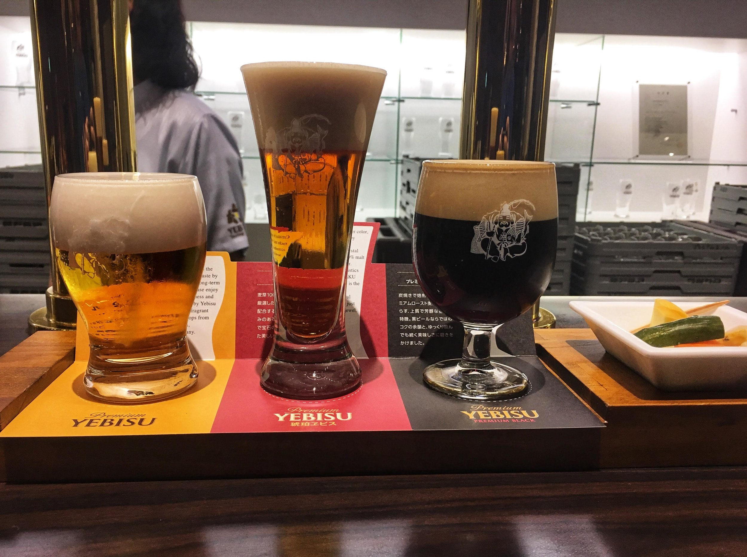 tasting set of three types of Yebisu Beer: Original, Red, and Dark