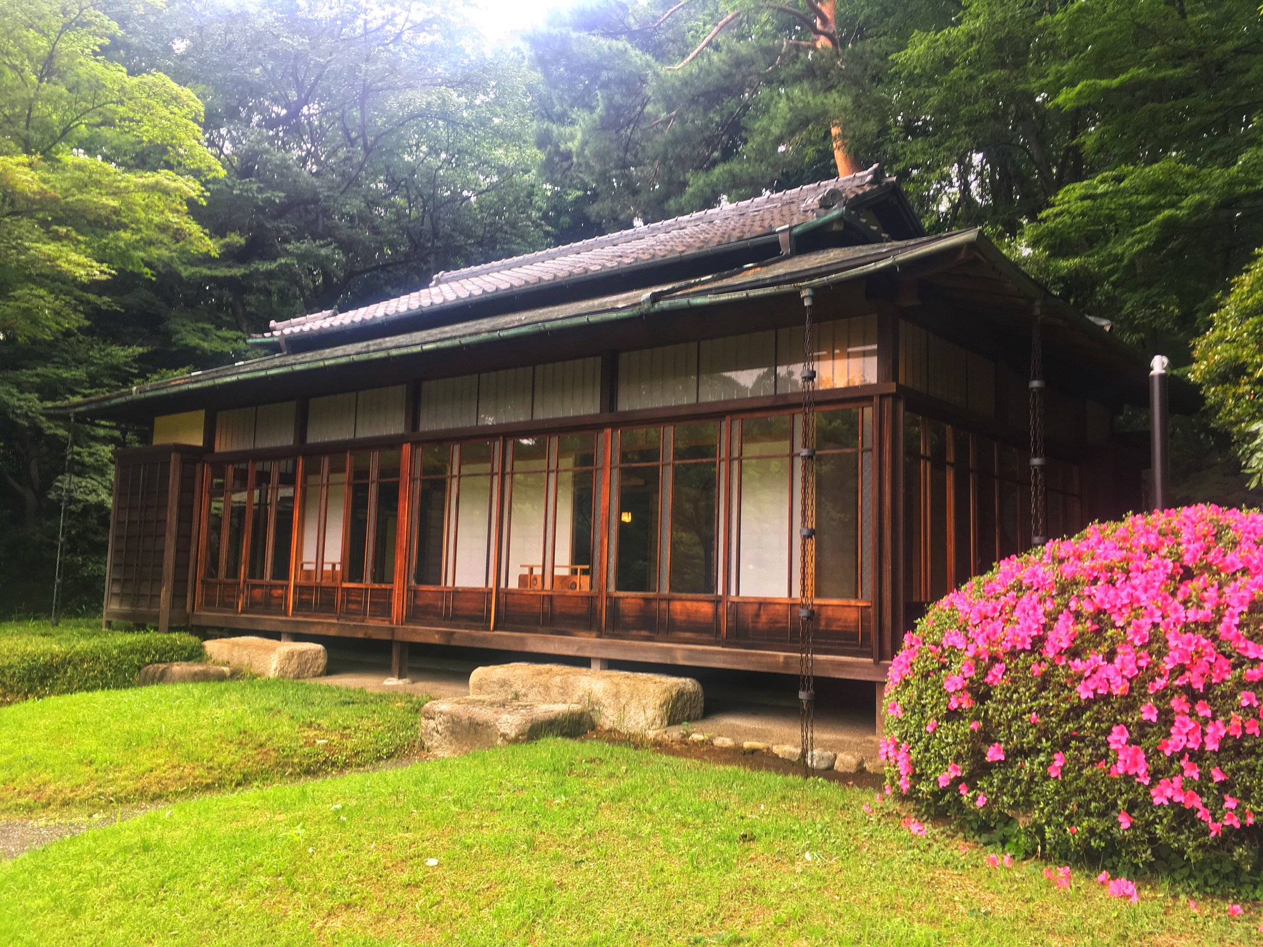 a Japanese teahouse at the Meiji Shrine