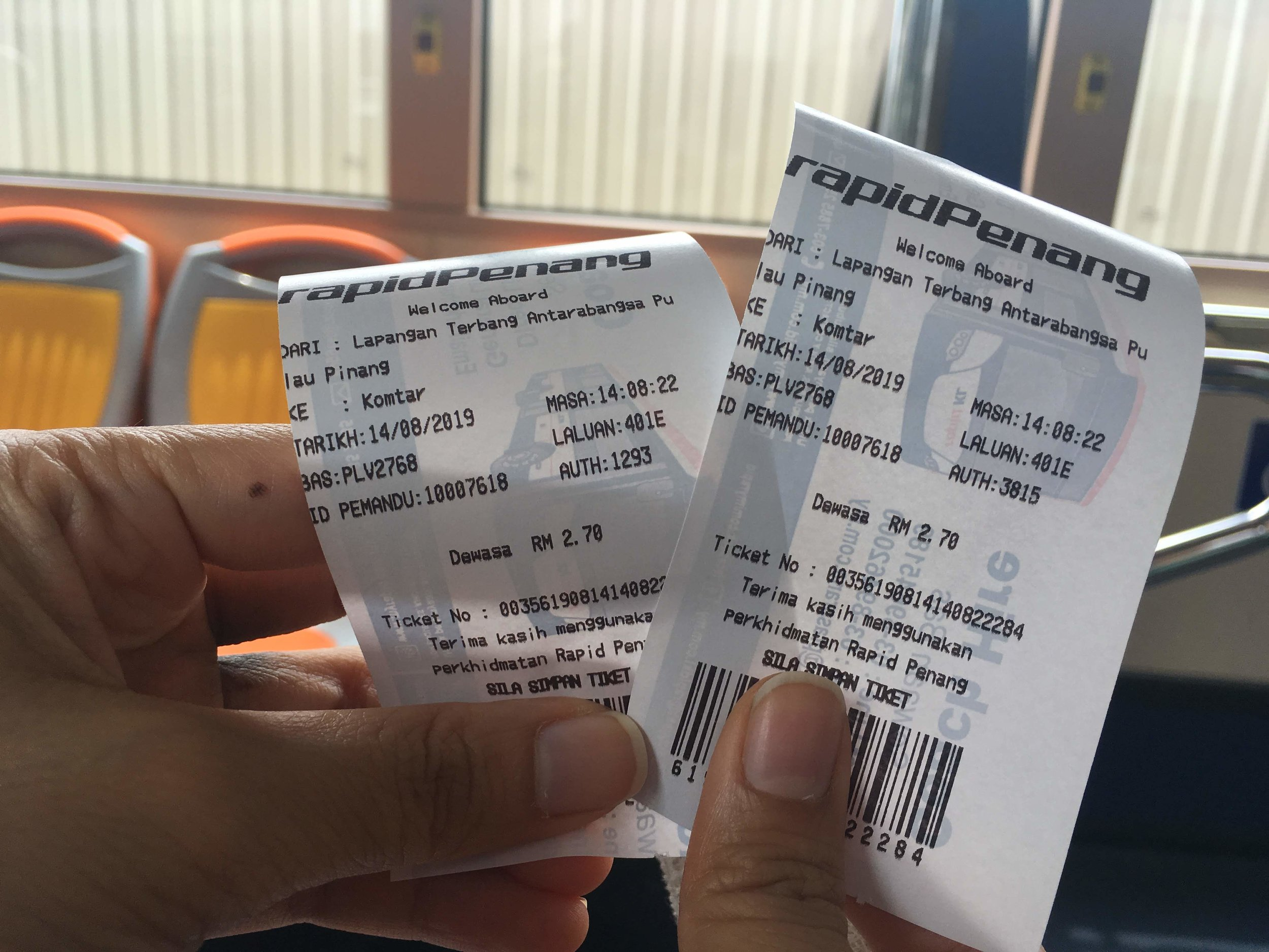 ticket on the Rapid Penang bus from Penang International Airport to Georgetown, Penang, Malaysia