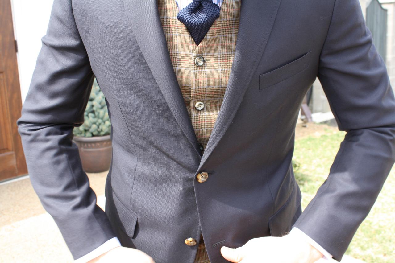 gray travel suit bespoke vest custom shirt