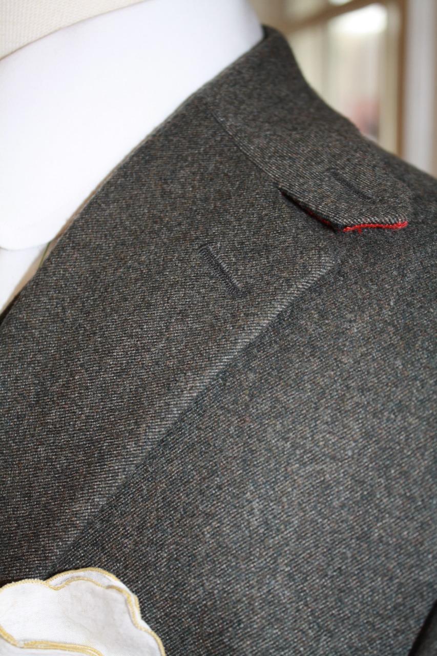 bespoke gray suit peak collar