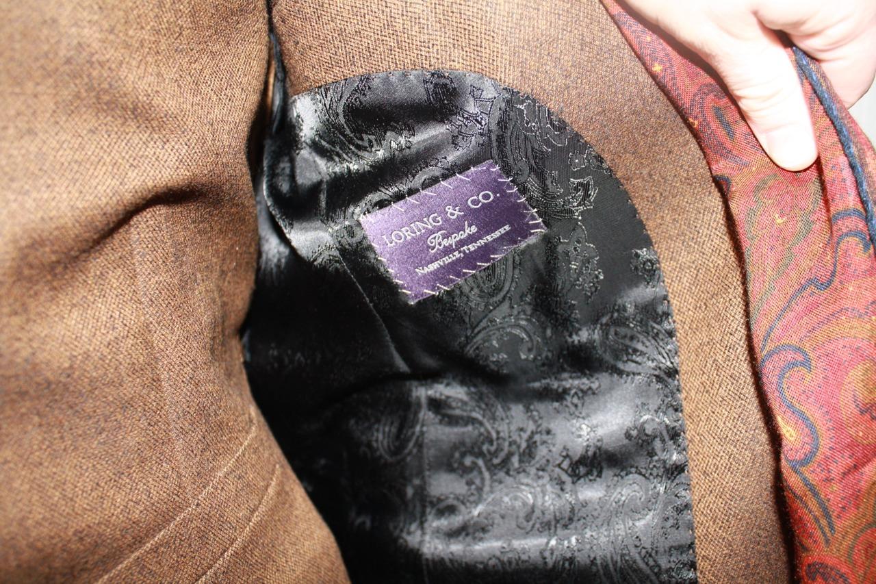bespoke suit brown black paisley lining
