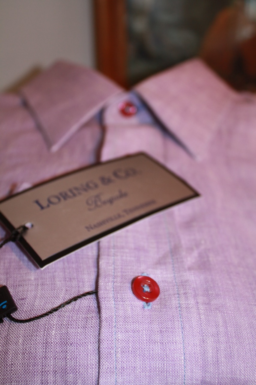 bespoke shirt red buttons