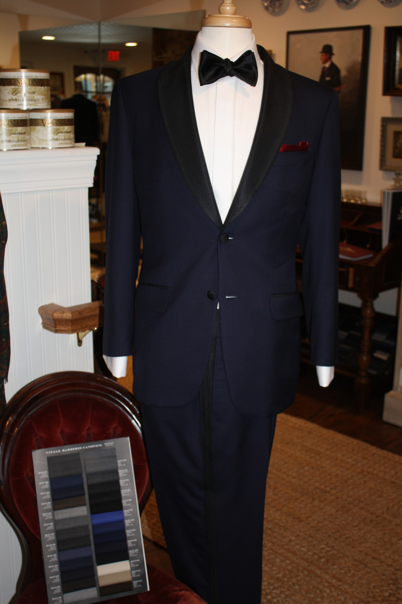 Our stunning navy tuxedo. We can make you one, too!