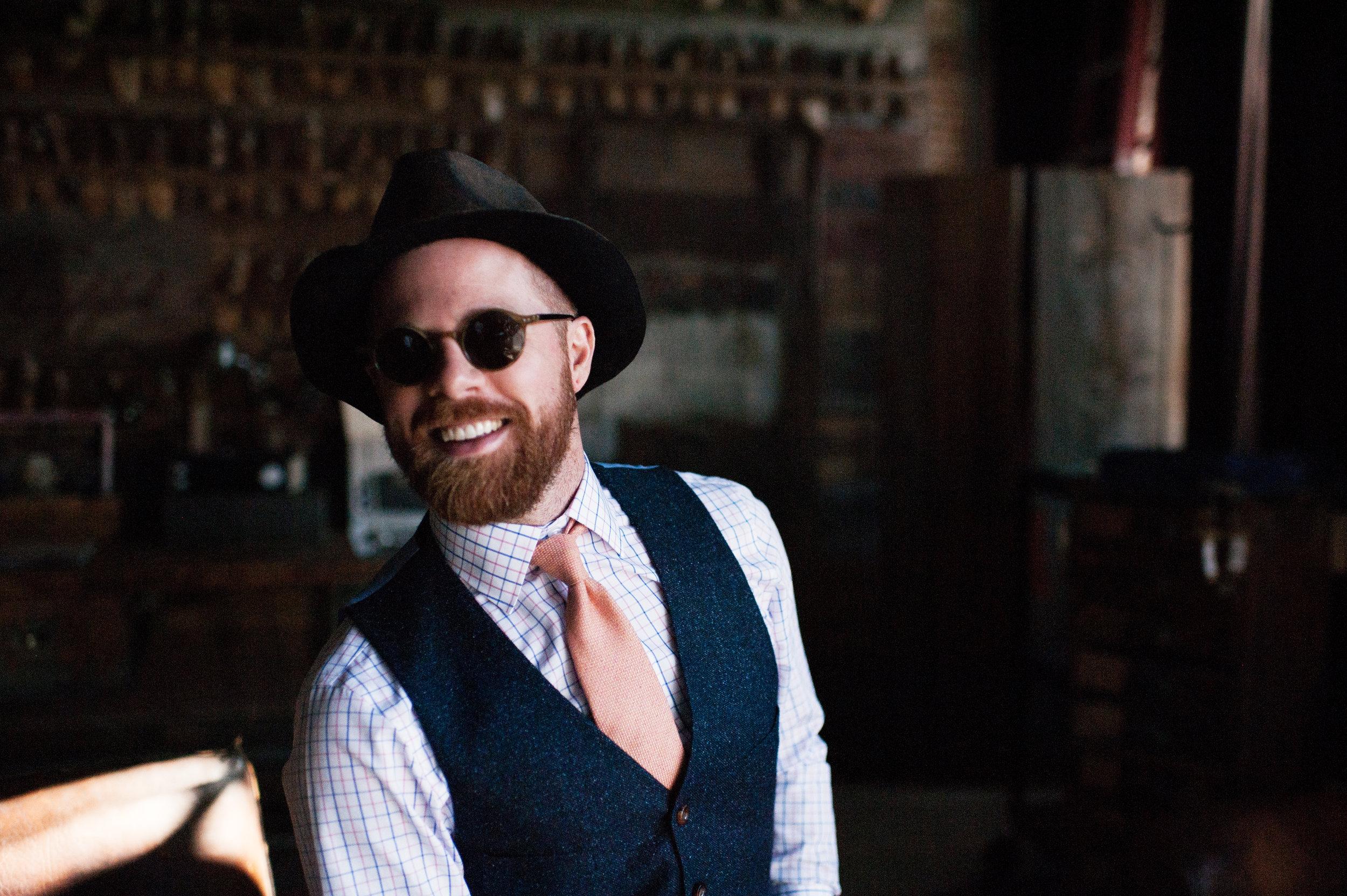 custom suit sunglasses hat