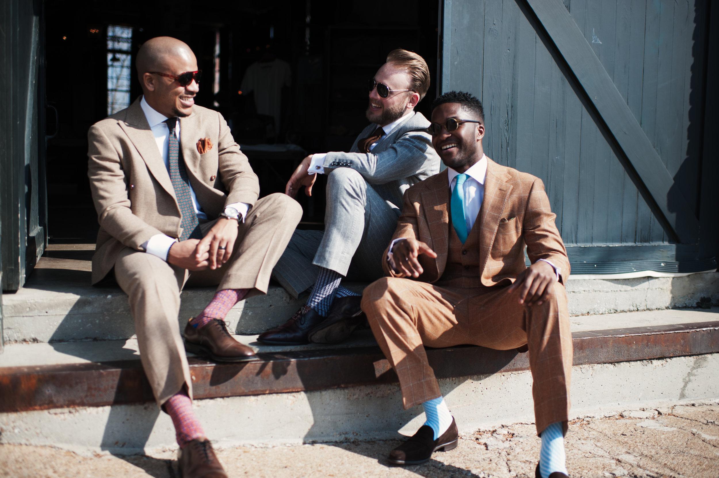 tan suit gray suit custom bespoke