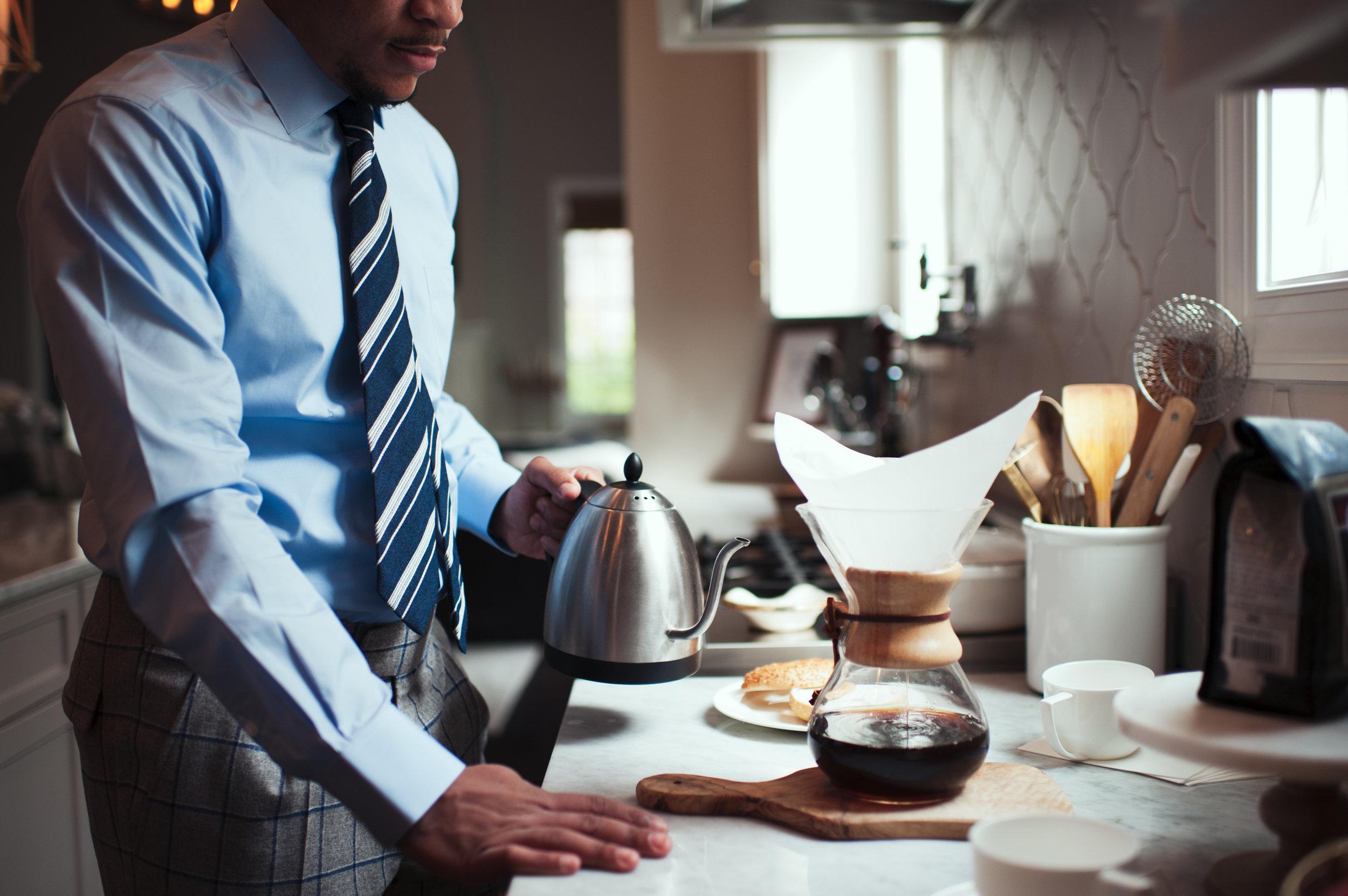 custom blue shirt, striped custom tie, pour over coffee