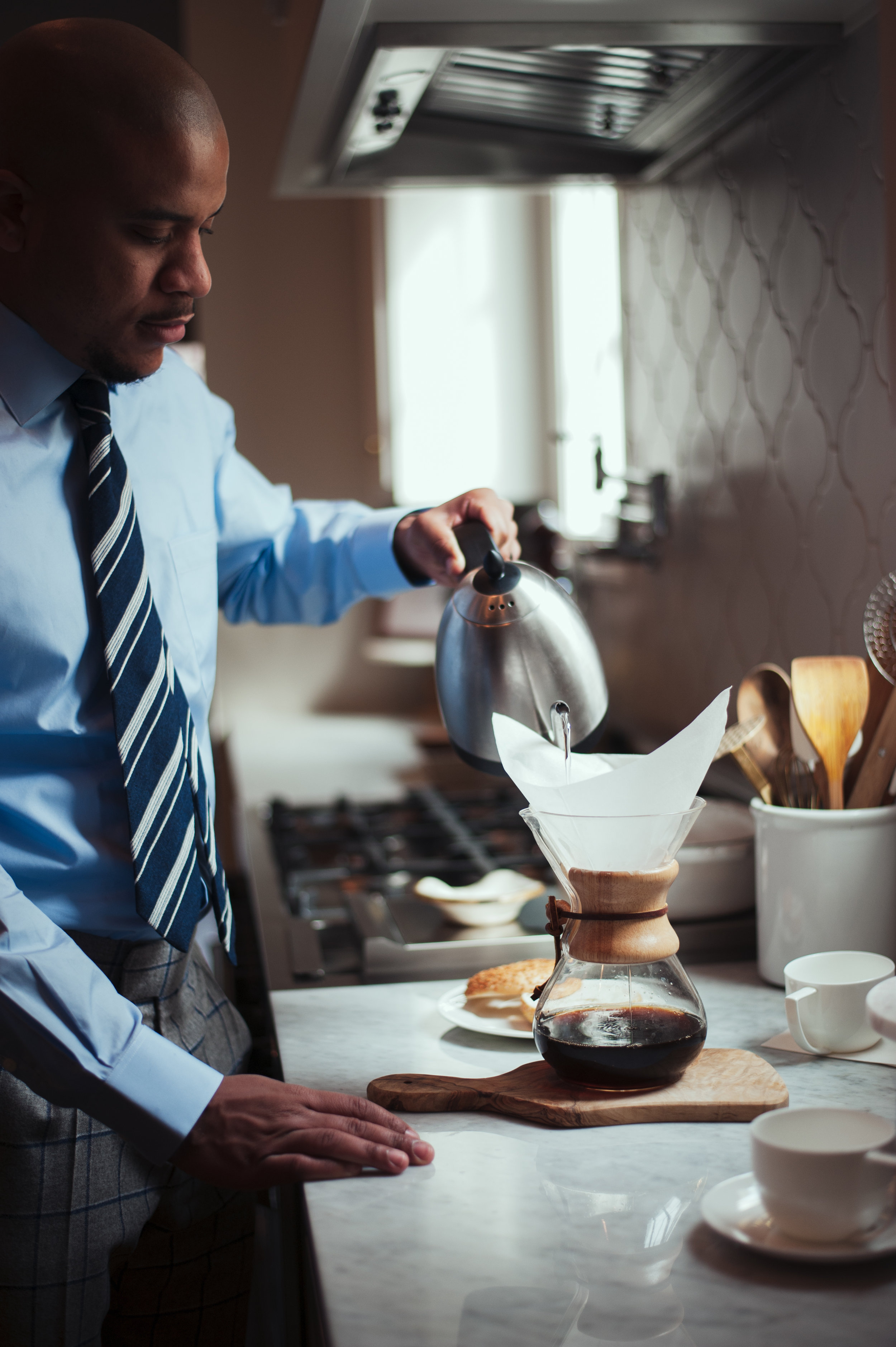 pour over coffee morning routine in blue and gray custom suit