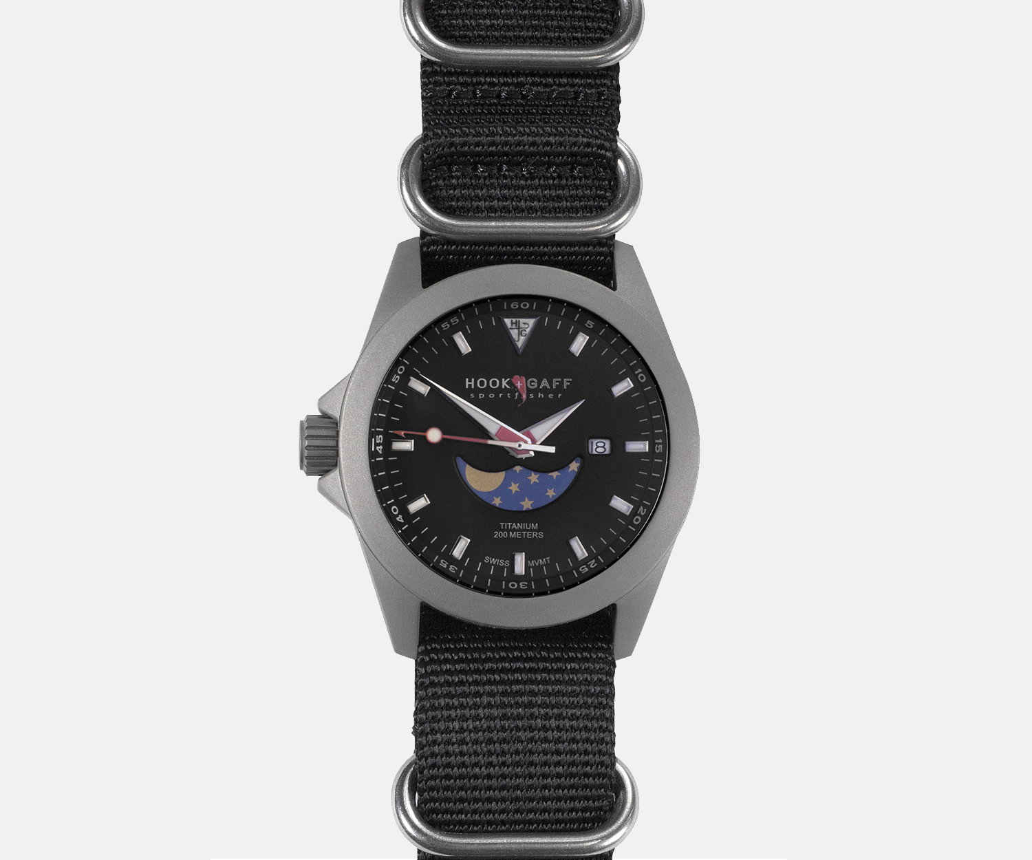 HOOK AND GAFF SPORTFISHER II MP BLACK MOONPHASE DIAL