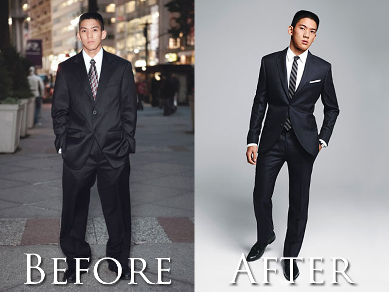 man with shabby suit style as before, then with slim fitted custom black suit and white pocket square after