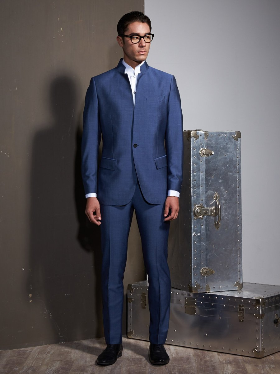 navy custom suit in a silk and wool blend