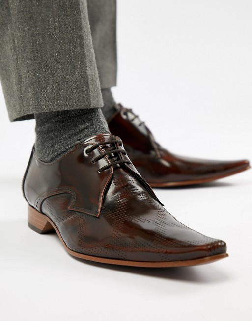 brown leather shoes with gray custom suit