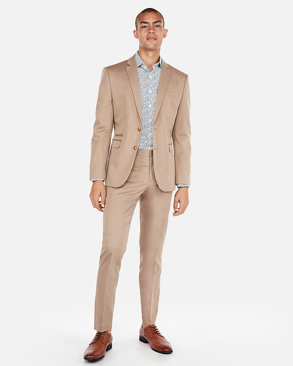 custom tan suit with brown shoes