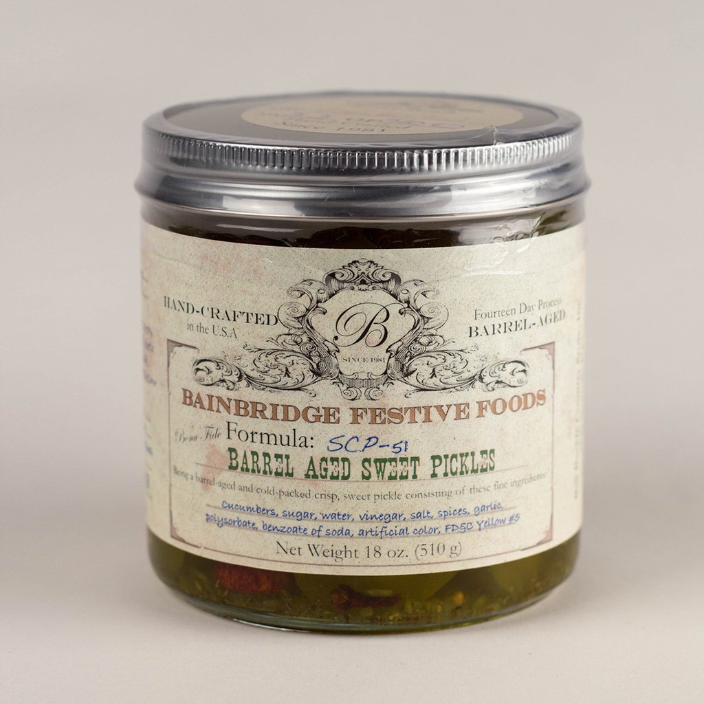 barrel aged sweet pickles great holiday gift or christmas gift
