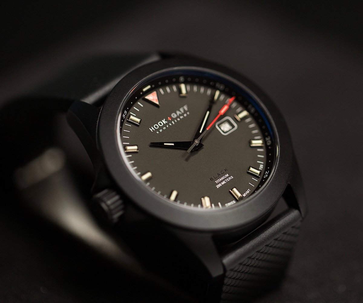 Modern black watch with black dial