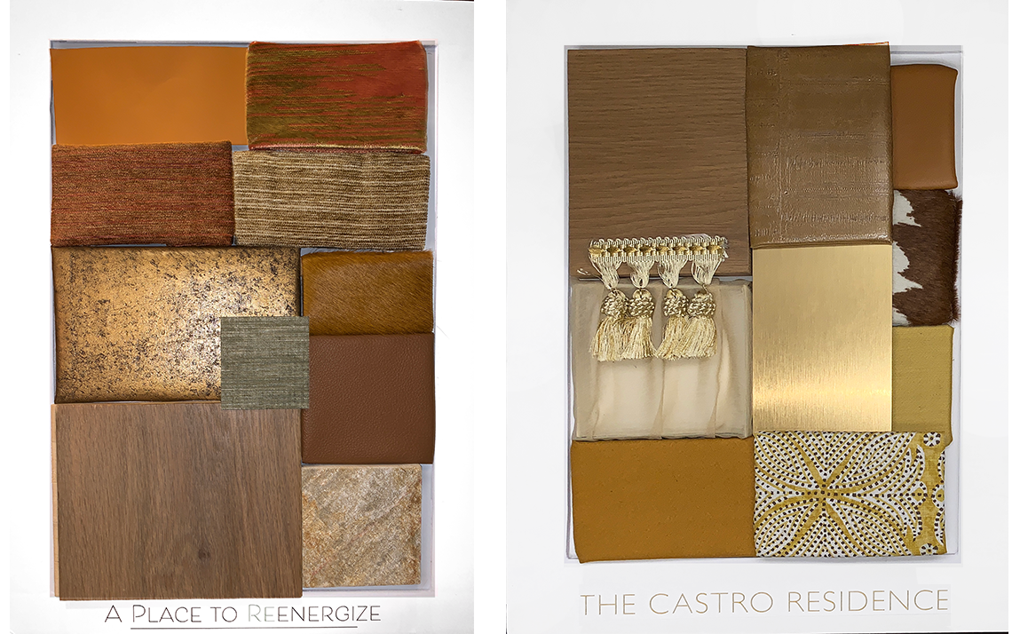 Materiality boards - Sourcing different materials from vendors across New York to construct boards for clients to see and feel the sample's quality and textures before upholstery or construction, following color schemes previously discussed with clients. Featured two boards in analogous schemes with samples of different finishes of wood, stone, faux leather, wallpaper, paint chips and more.