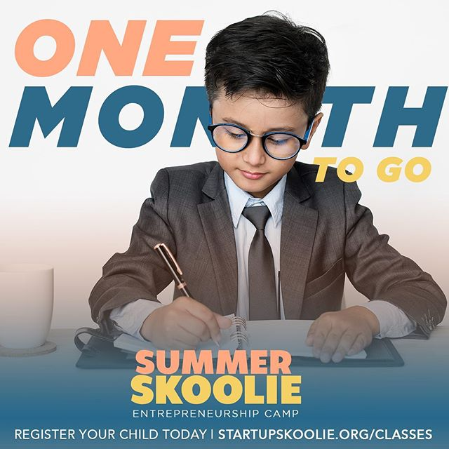 Exactly one month from today the first class of our 4-week Summer Skoolie session will begin!  We're so excited to welcome a group of 15 kid entrepreneurs to start businesses and to learn about entrepreneurship this summer. We still have spaces available! Register your child today at startupskoolie.org/classes!