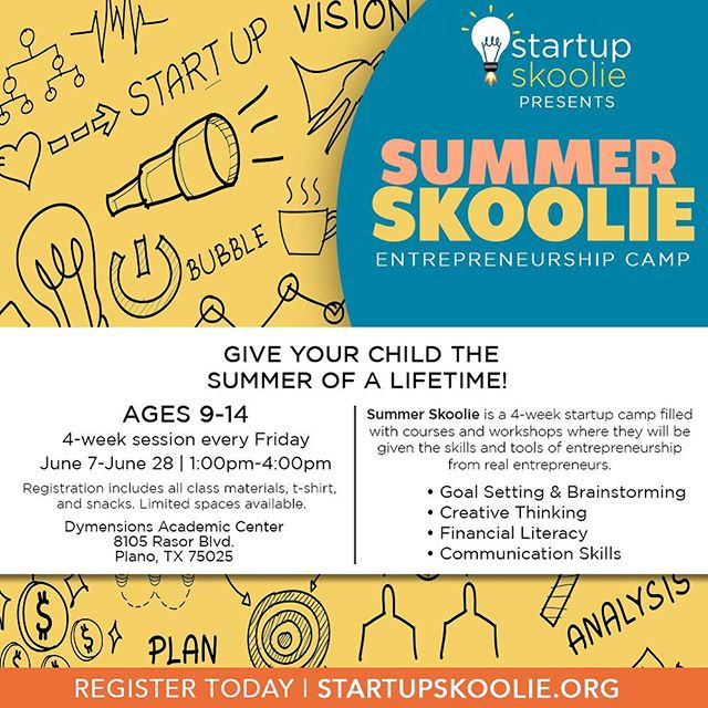 Summer Skoolie is a 4-week Startup camp where kids ages 9-14 will be given the tools to start a business and learn important skills such as communication, public speaking, brainstorming, financial literacy and more!   Each class will take place every Friday in June from 1-4pm. Registration is now open and payment plans are available! Visit startupskoolie.org/classes for more information!