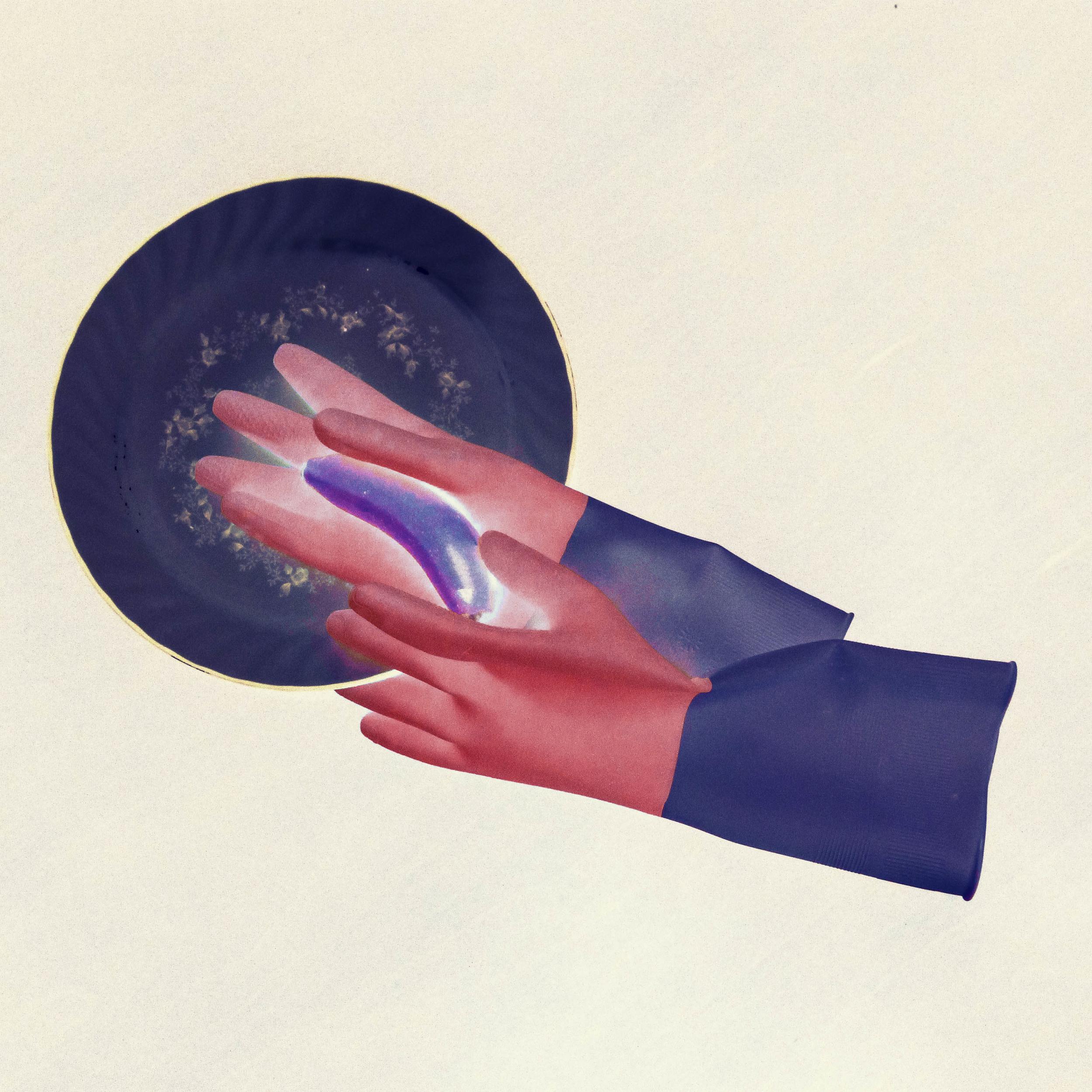 「妳是整天關在家被別人洗腦,我是在外面社會中工作。」 這是父親對母親說過的一句話。 家中越日常的行為,越能凸顯被漠視的一切。   I used dishwashing gloves to symbolize the pain and negligence that my mother suffered everyday as a housewife. Combining with the portrait of other objects (such as the altar of my grandmother and marriage photo of my parents) with metaphorical meanings, I visualized the painful emotion of family life hidden under the skin.