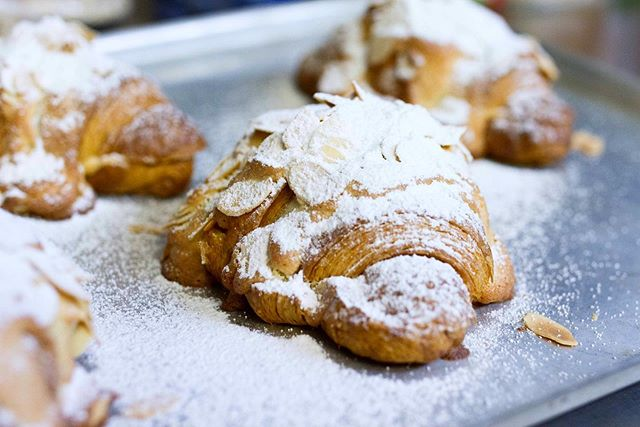 Our favourite thing about sleep? It's like a time machine to breakfast. #ourkitchenette #melbournecafe #almondcroissant