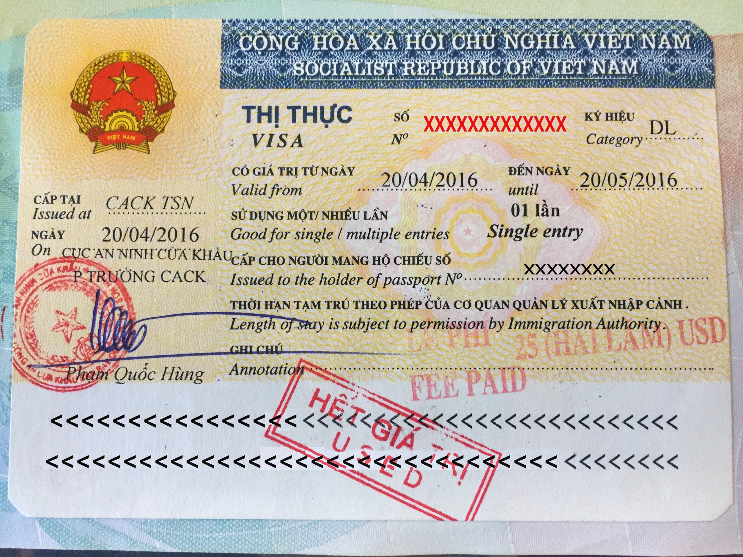Vietnam visa in my passport.