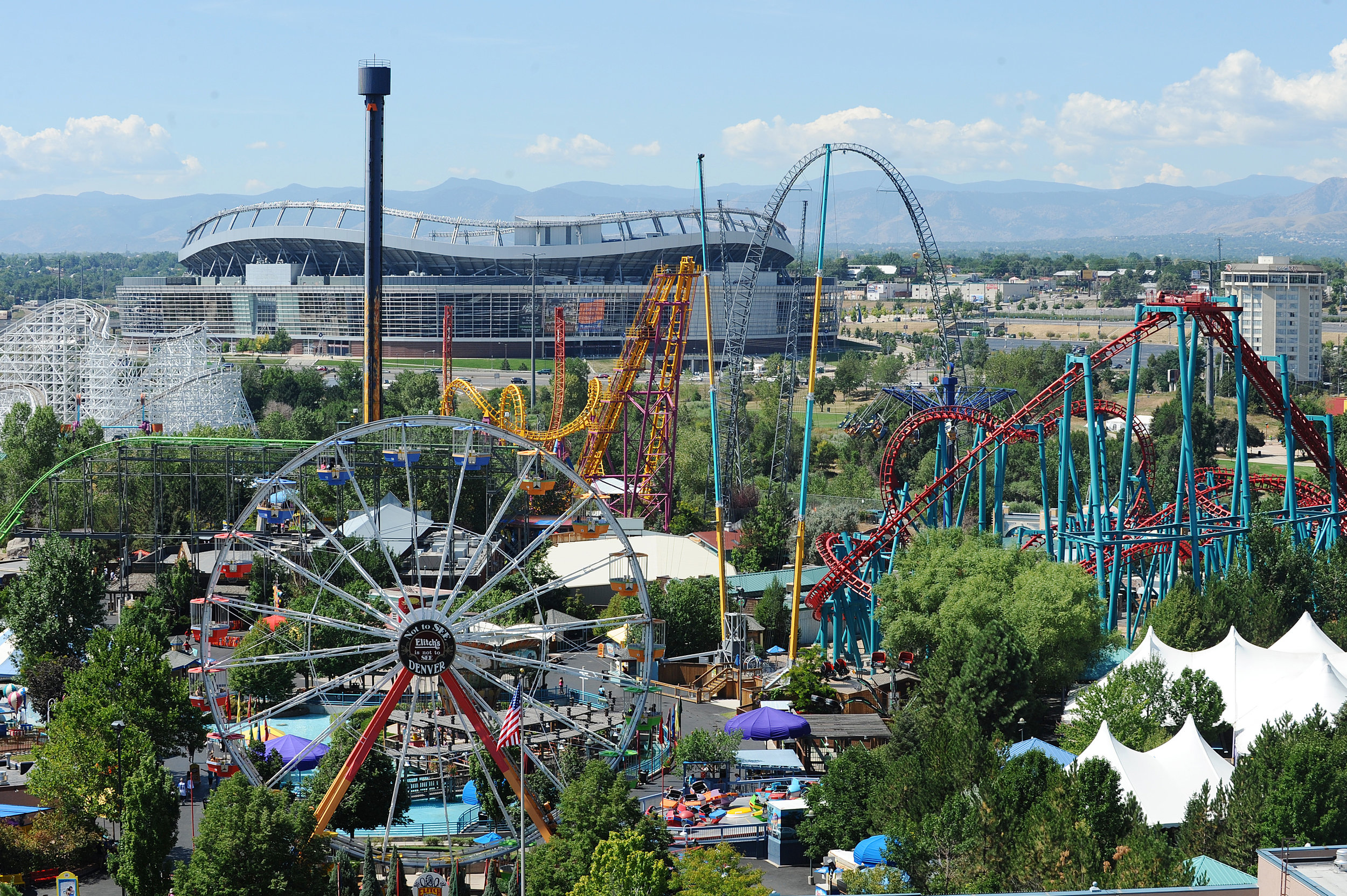 Elitch's and Sports Authority Field in the background.