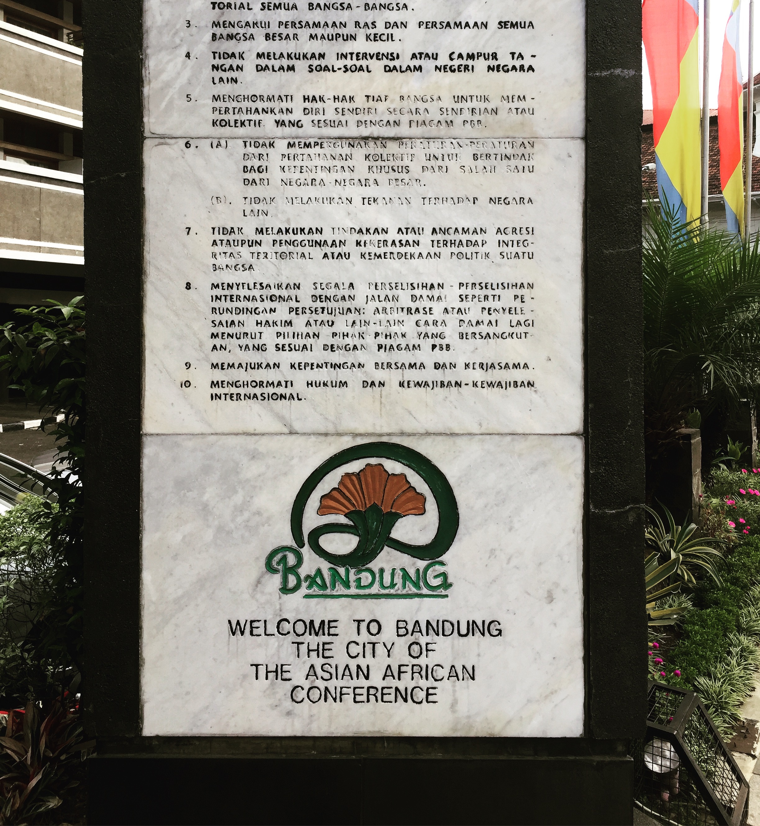 The Bandung Declaration on a plaque along the street between the conference venue and hotel