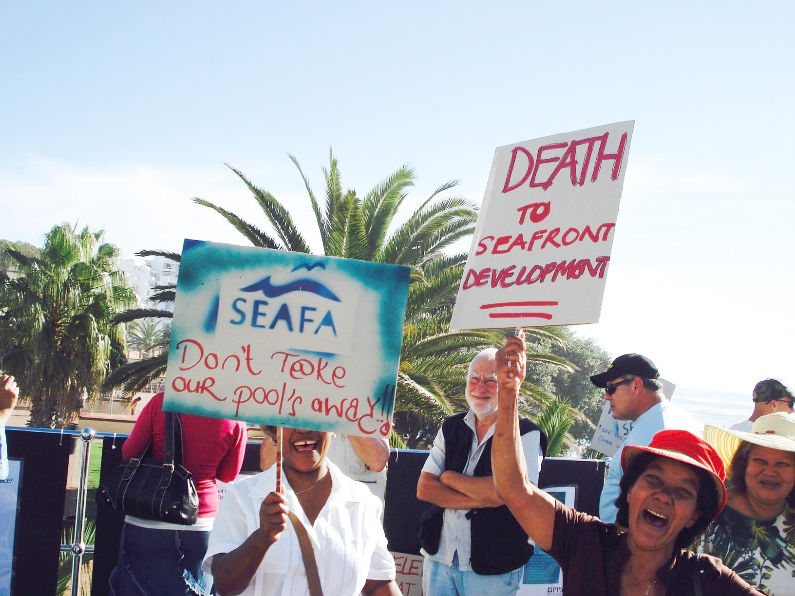 Citizens in Cape Town coming together to successfully protest planned developments of the Sea Point Promenade. The more recent  Reclaim the City  campaign continues the tradition, focussing on social housing.