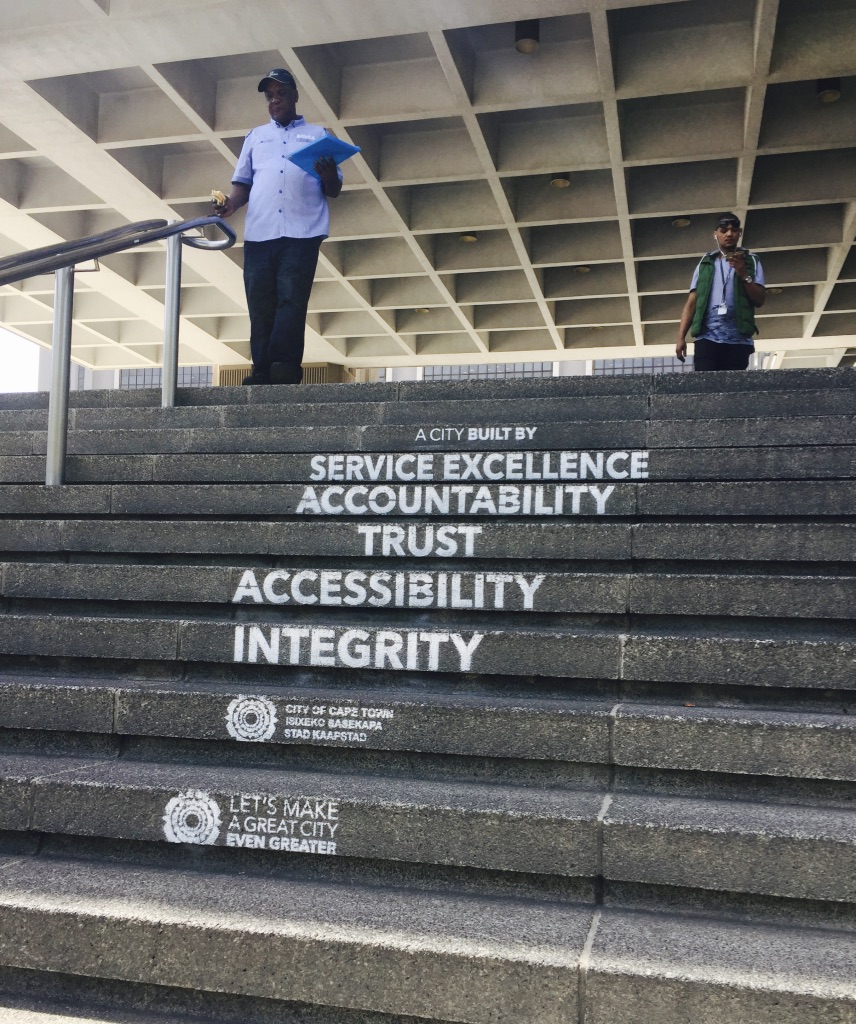 The City of Cape Town's values statement, sprayed on the stairs leading to the Civic Centre.
