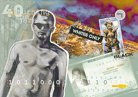 "Selvin November's postcard for the BLAC's  Returning the Gaze  Public Art project 2000. It  references the racial categorisation of the Population Registration Act, which defined him as a ""coloured"" person - neither black nor white.  This categorisation appears as a set of specific numbers on his ID document."