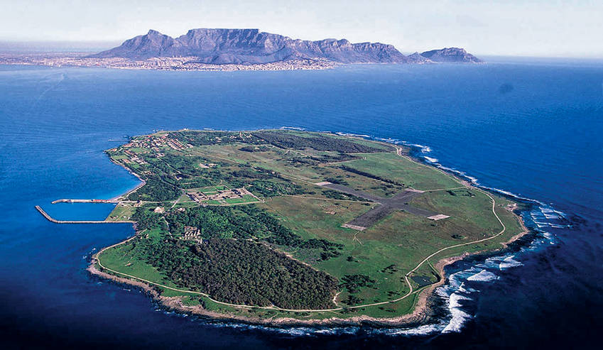Robben Island with Table Mountain in the background - two international heritage sites in Cape Town