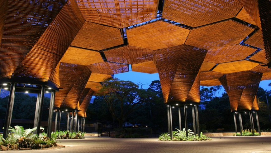 The Botanical Gardens in Medellin / Joaquin Antonio Uribe Botanical Garden. Entrance Pavilion.