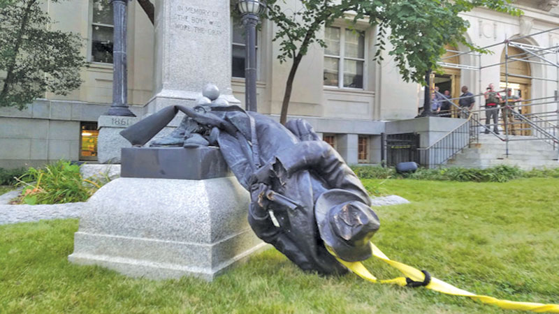 A toppled confederate general - photo from the internet