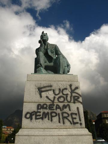 The Rhodes Statue during protests  - photo from the internet
