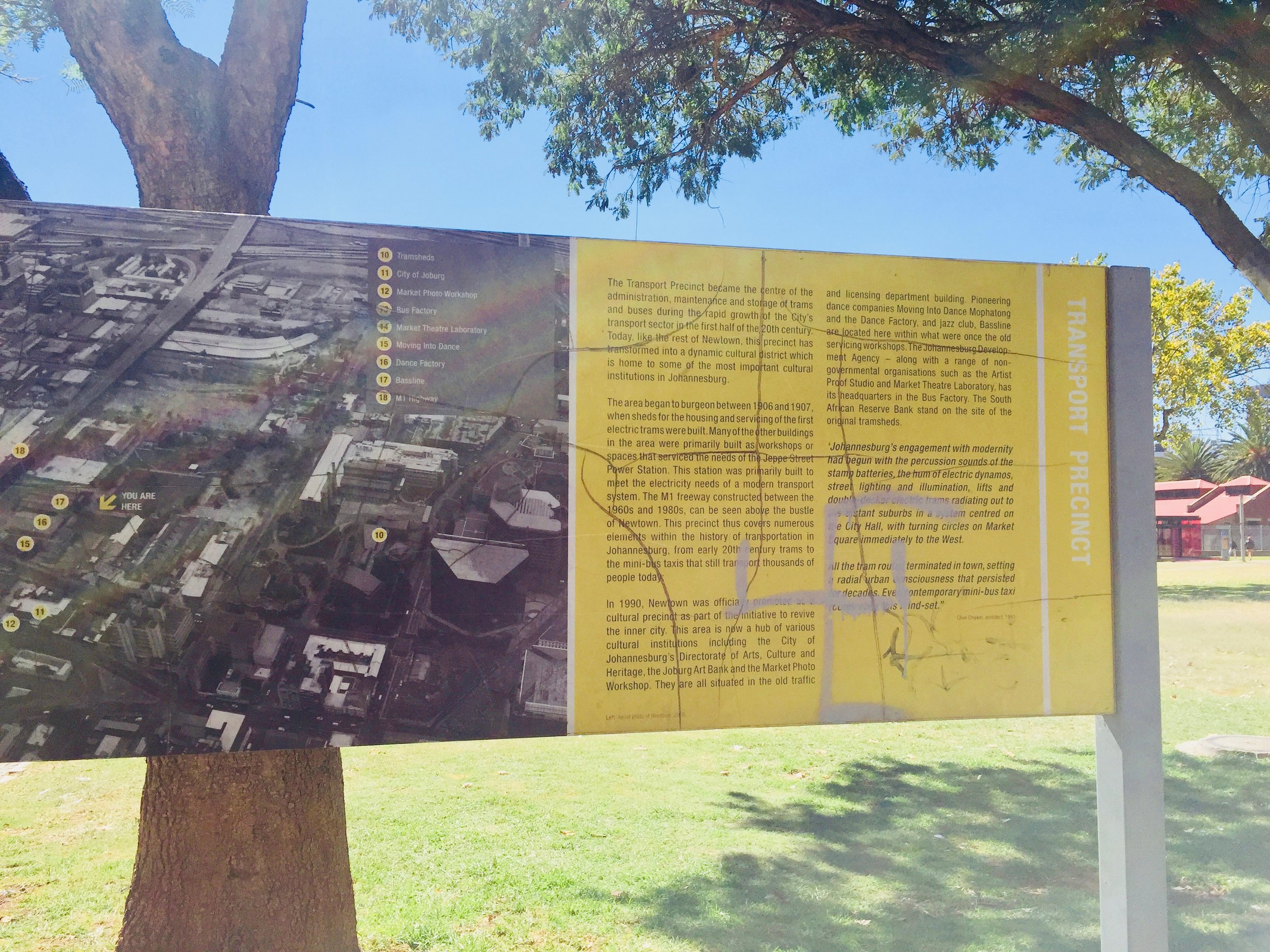 Vandalised heritage boards and signage