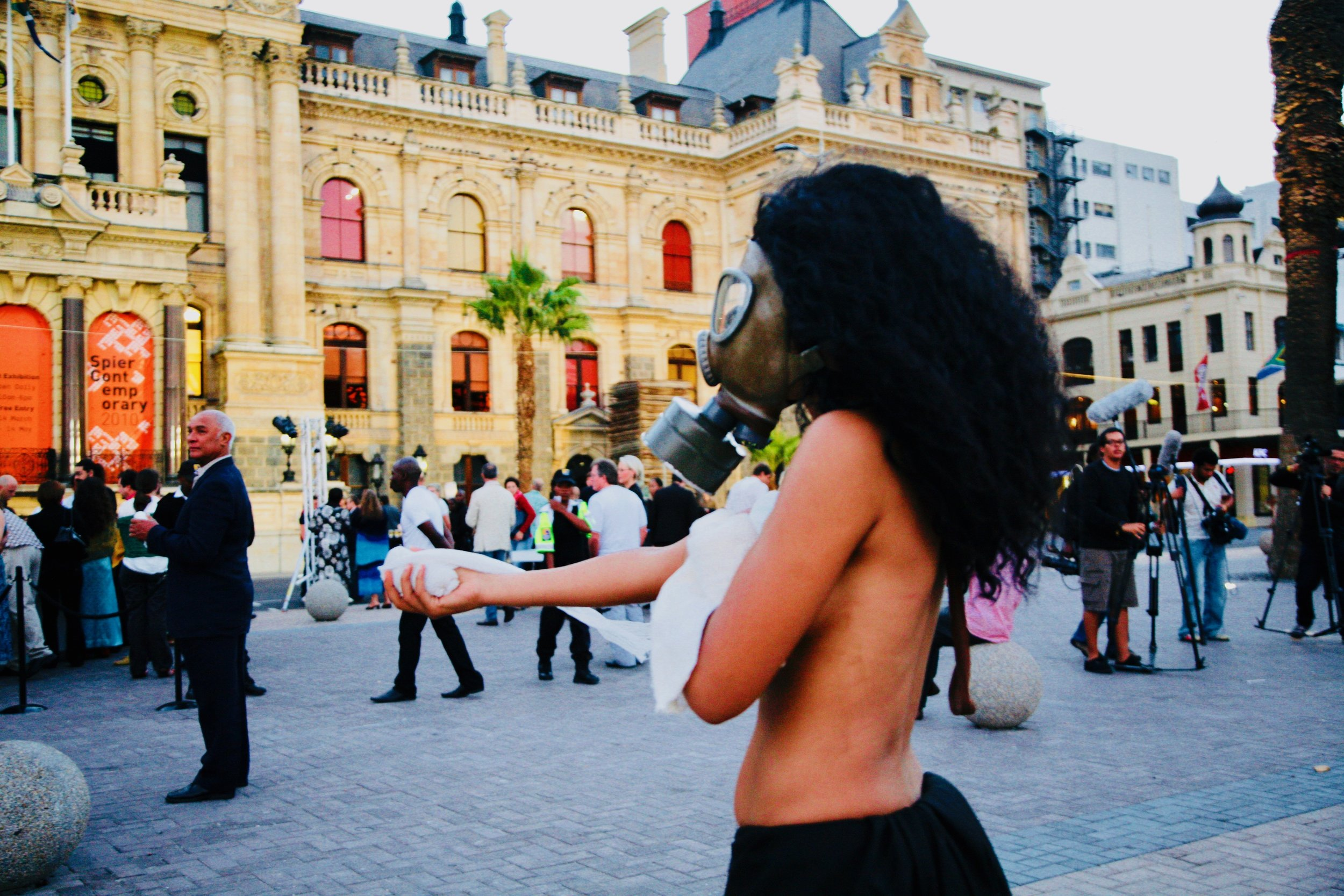 A performance art work at the opening of the Spier Contemporary held at the City Hall in 2010